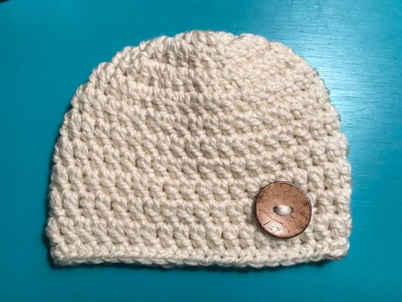 52aa738b5cf ... top quality newborn baby toddler cream off white chunky beanie hat etsy  db1fa 7004f