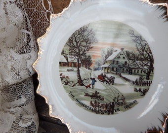 Currier & Ives Decorator Wall Plate, The Homestead in Winter, Winter Wall Decor, Winter Scene, Decorator Plate, Collectible Plate