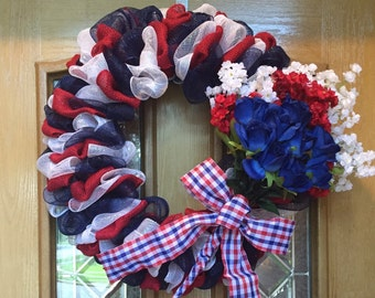 Patriotic Red, White, & Blue Wreath
