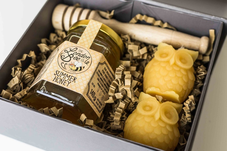Small Beeswax Candle and  Honey Gift Box  Owls image 1