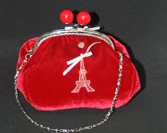 Retro red velvet evening bag