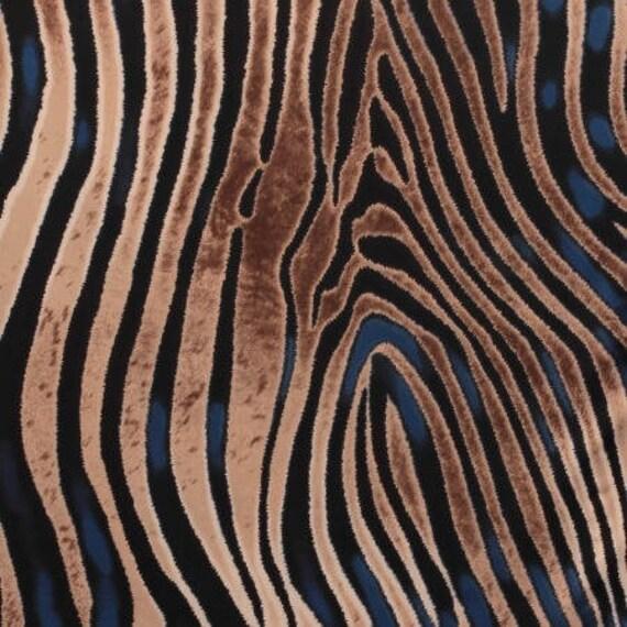 Tissu jersey cristal zèbre bleu - matiere Jersey motif Peau de bête