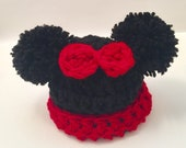 Minnie Mouse hat double Pom Pom with bow fits toddler