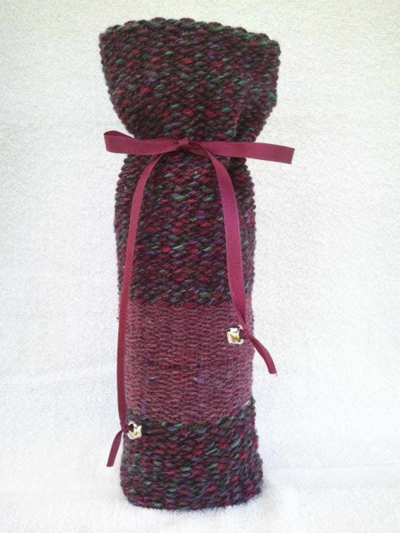 Wool in shades of purples teal /& green Wine Bottle Bag #14W70. Handwoven
