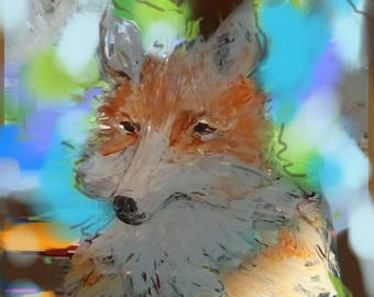 Poster of hand painted Fox