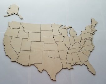 Handcrafted United States of America Wooden Model Craft Mural Educational 834