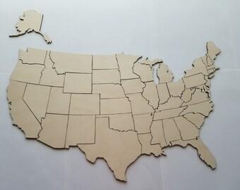 Wood United States Map.United States Puzzle Etsy