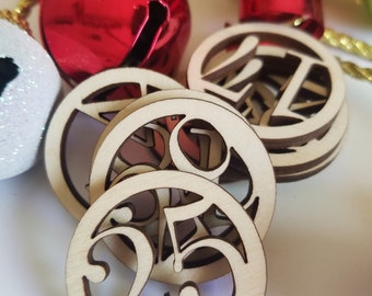 Calendar Circle Number Wooden Cut Outs ( Advent Numbers, Number Ornaments, Christmas Decor , Holiday Decor, etc..)