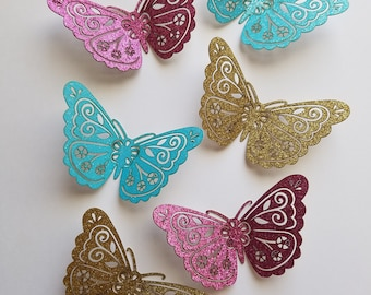 Glitter Butterfly Die Cut Outs ( Scrap Booking, Embellishments, Wedding Decor, Wall Decor)