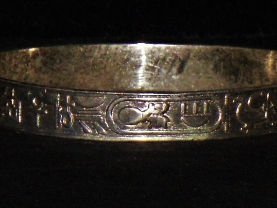 Sterling Egyptian Hieroglyphics Themed Bangle