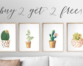 Cactus Botanical Succulent Art set of 4 printable 8x10 art prints