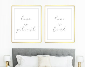 Love is patient love is kind Marriage Family Bedroom Quote    8x10 RQ10