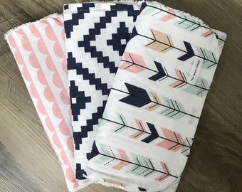 Burp cloths, baby gift, shower gift, arrows, navy aztec, aztec, modern burp cloths