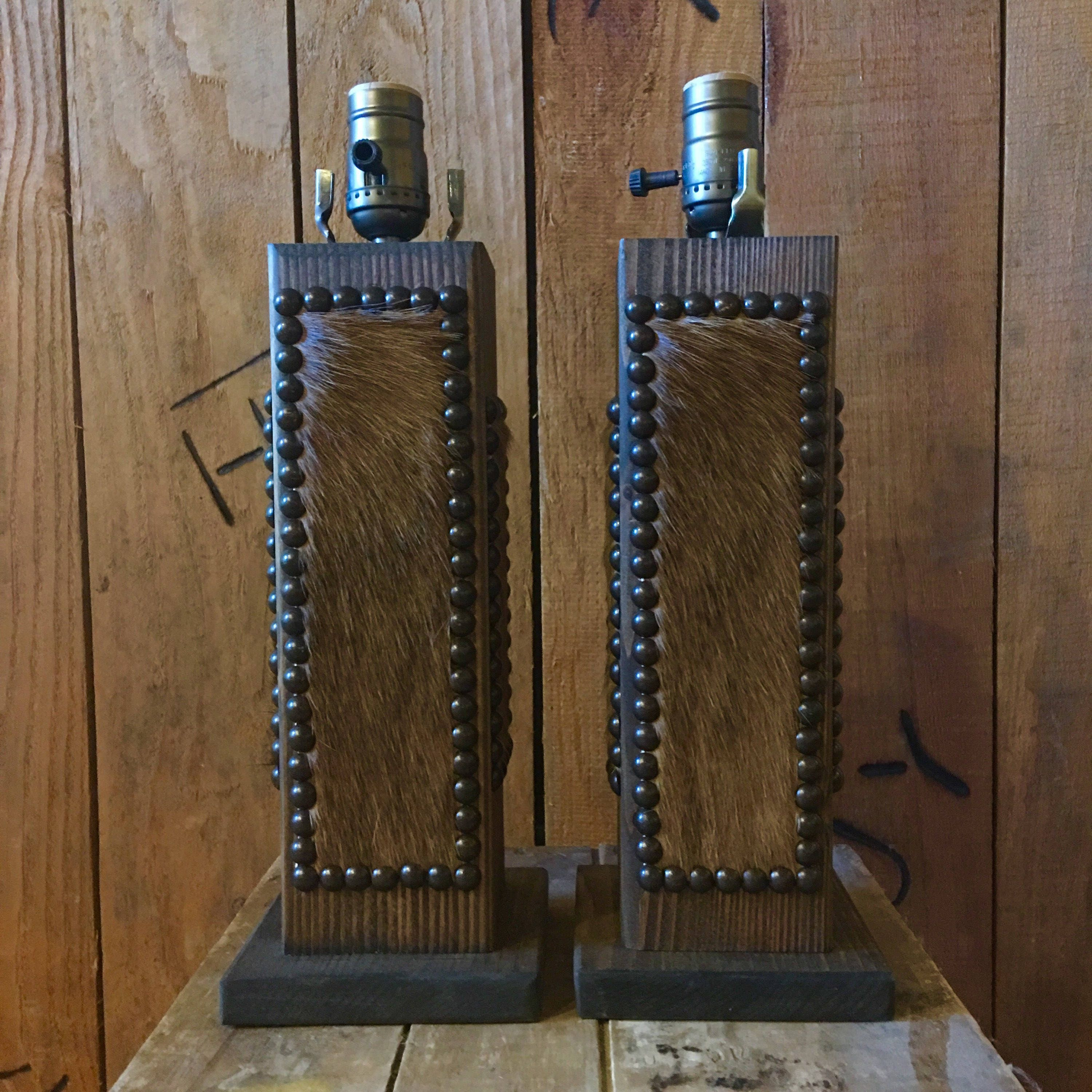 """Western lamps / Cowhide lamps / Set of 2 - 12"""" lamps (shades not included) with cowhide & nailheads (made to order)"""