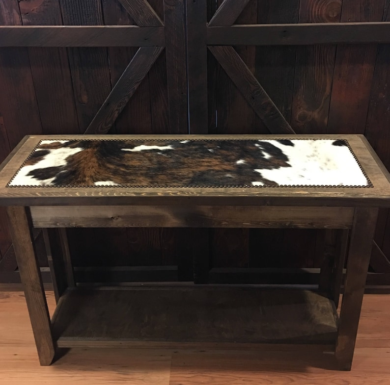 Incredible Western Sofa Table Cowhide Sofa Table Cowhide Entryway Table With Nailheads Made To Order Download Free Architecture Designs Lukepmadebymaigaardcom
