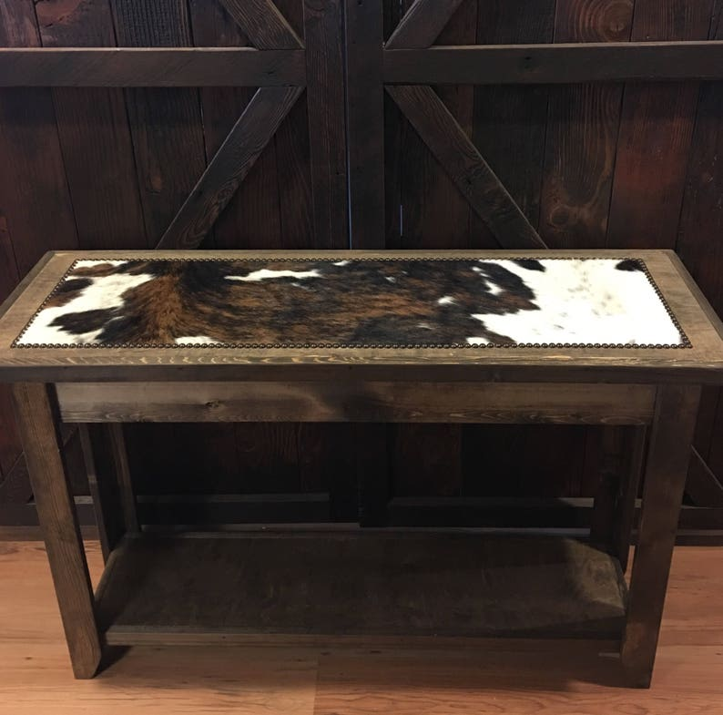 Wondrous Western Sofa Table Cowhide Sofa Table Cowhide Entryway Table With Nailheads Made To Order Beutiful Home Inspiration Xortanetmahrainfo