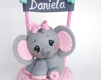 Elephant Cake Topper Elephant Baby Shower Cake Topper First Birthday Elephant Animal Cake Topper Personalized Cold Porcelain Keepsake