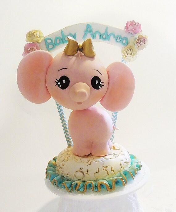 Elephant Cake Topper Elephant Baby Shower Cake Topper 1st Etsy