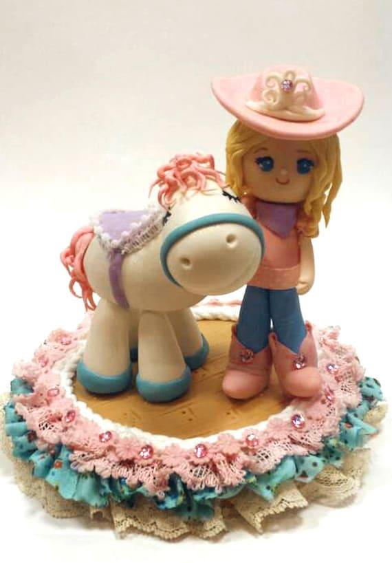 Sensational Princess Cowgirl Birthday Cake Topper Pony Horse Cake Etsy Personalised Birthday Cards Bromeletsinfo