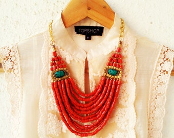 Turquoise Necklace/Red Necklace/Bib Necklace/Statement Boho Necklace/Bohemian Necklace/Tibetan Style Necklace