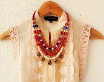 Bohemian Necklace/Statement necklace/Bib Necklace/Beaded Jewelry/Tribal Necklace/lapis Necklace/Red Boho Necklace