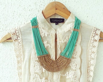 Turquoise Necklace/Bohemian Necklace/Beaded Jewelry/Statement Necklace/Turquoise Gold Necklace/ Bib Necklace/Long Necklace