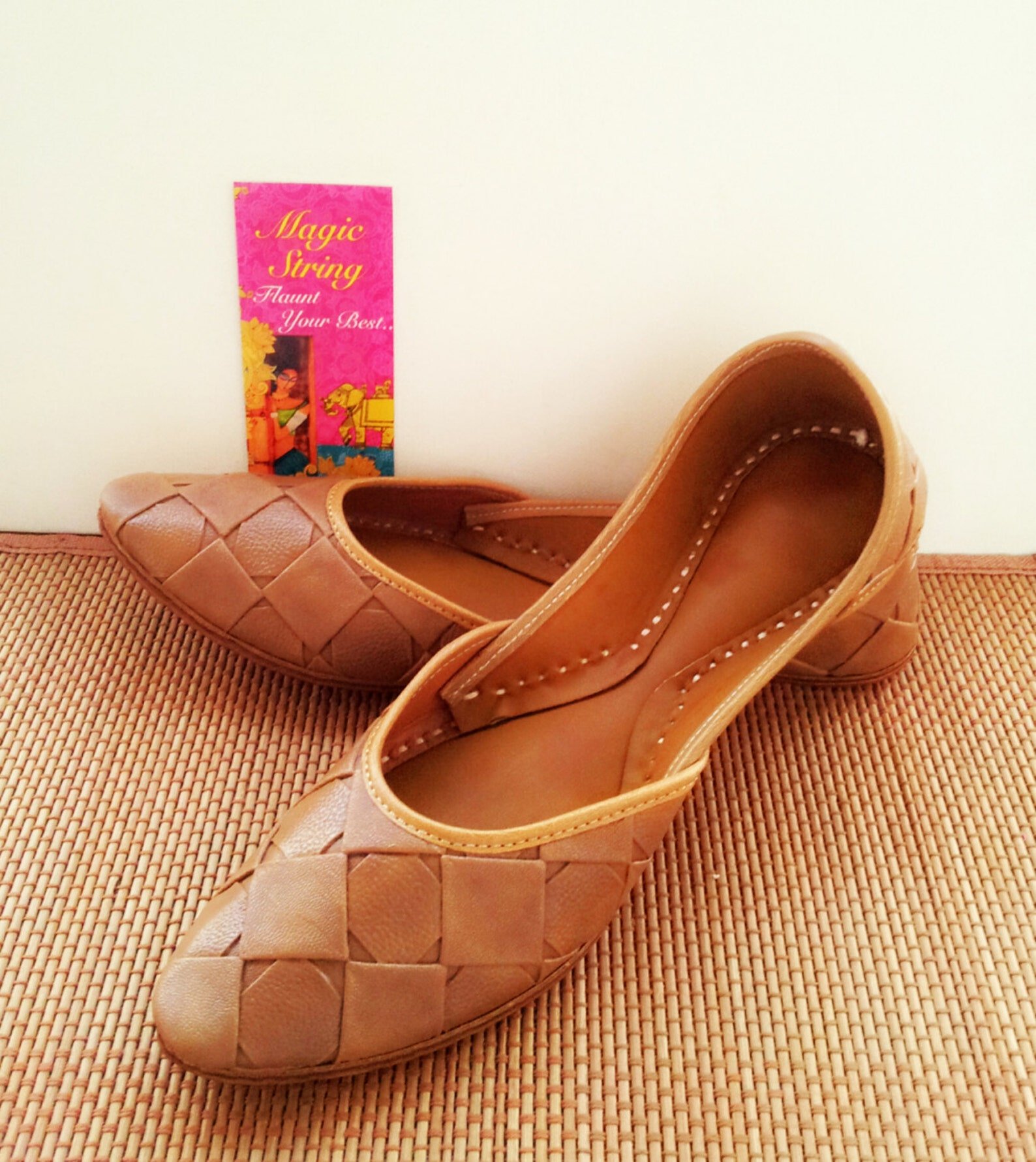 brown textured leather/ballet flats/royal brown women shoes/leather shoes/royal styled jooties/casual ballet flats
