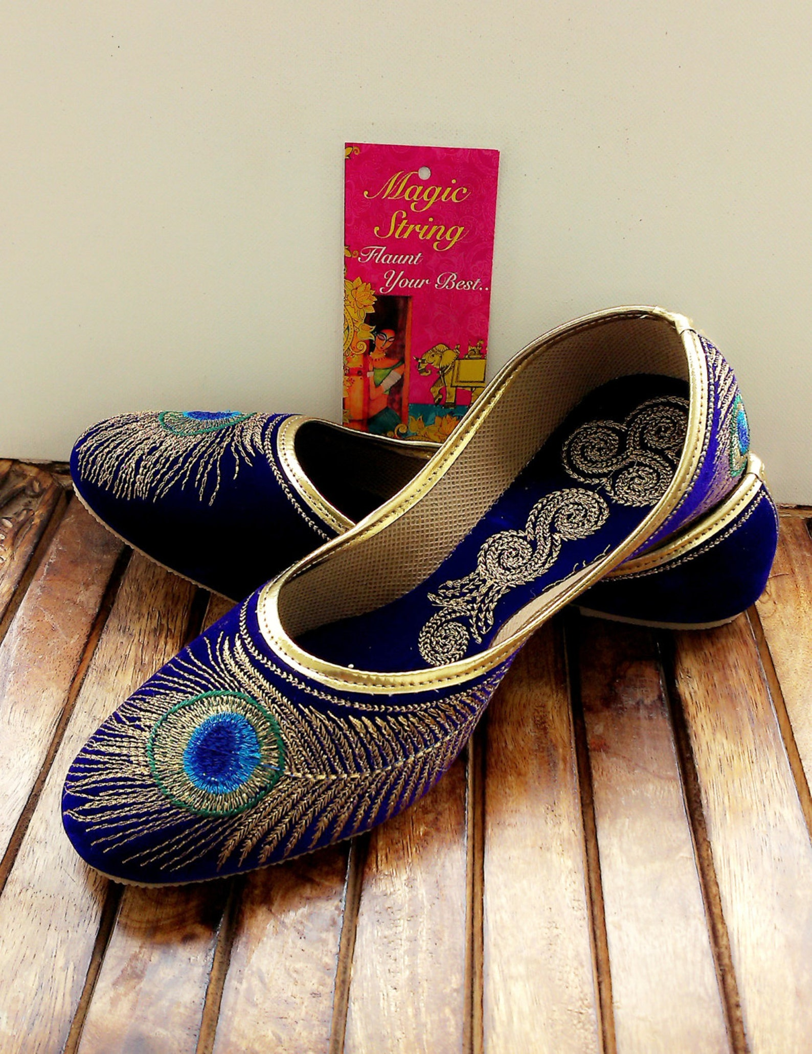 50% off us size 6/blue shoe/velvet shoe/gold embroidered designer shoes/blue ballet flats/women shoes/wedding shoes//roya