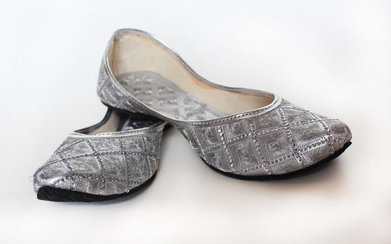 4038de58a09d0 US SIZE 7/ Women Ballet Flats/Silver Women shoes / Designer Bridal Shoes/  Wedding Shoes/ Royal Styled Jooties