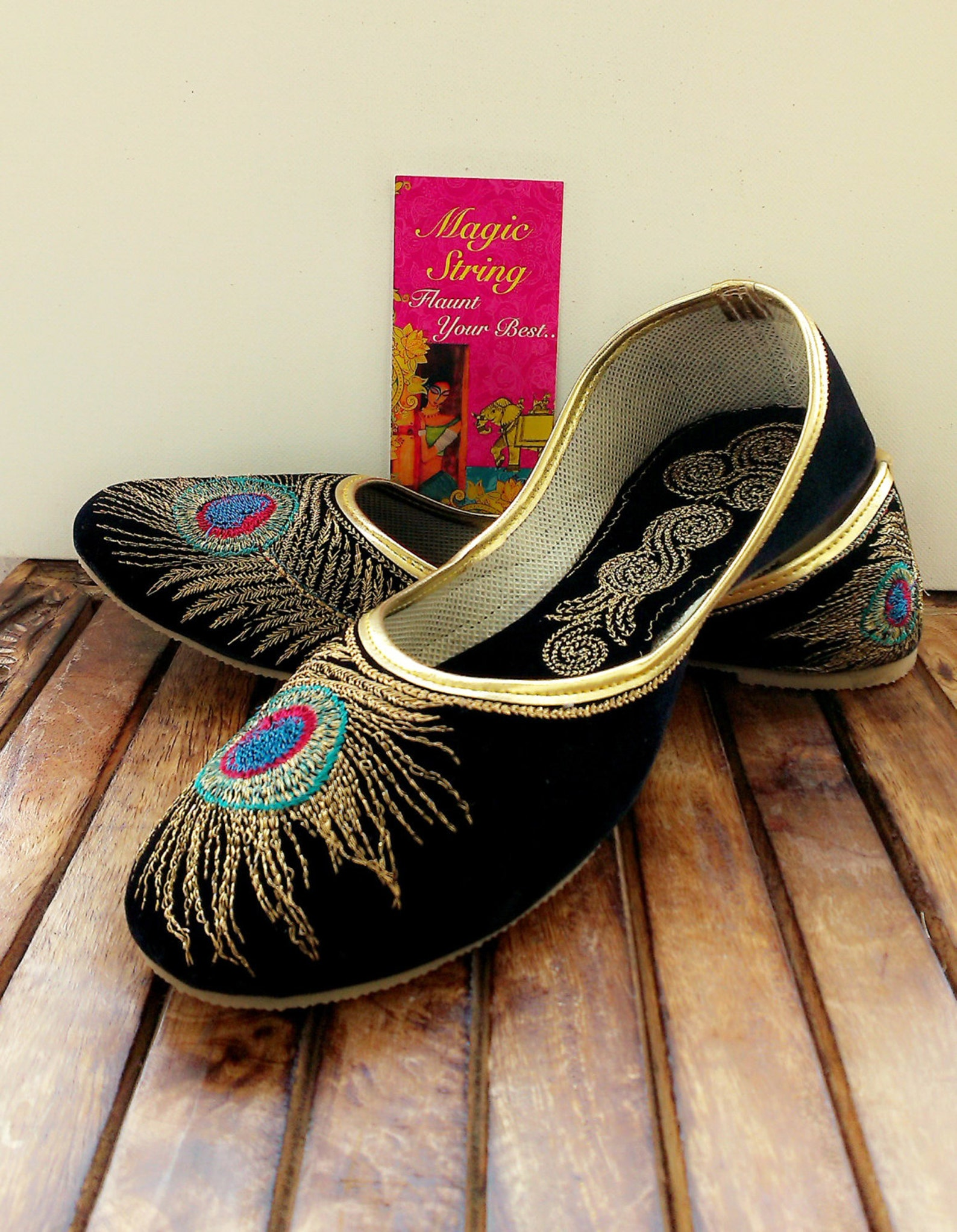 50% off us size 5/black shoes/velvet shoes/gold shoe/black ballet flats/women shoes/ handmade shoes//royal styled jooties