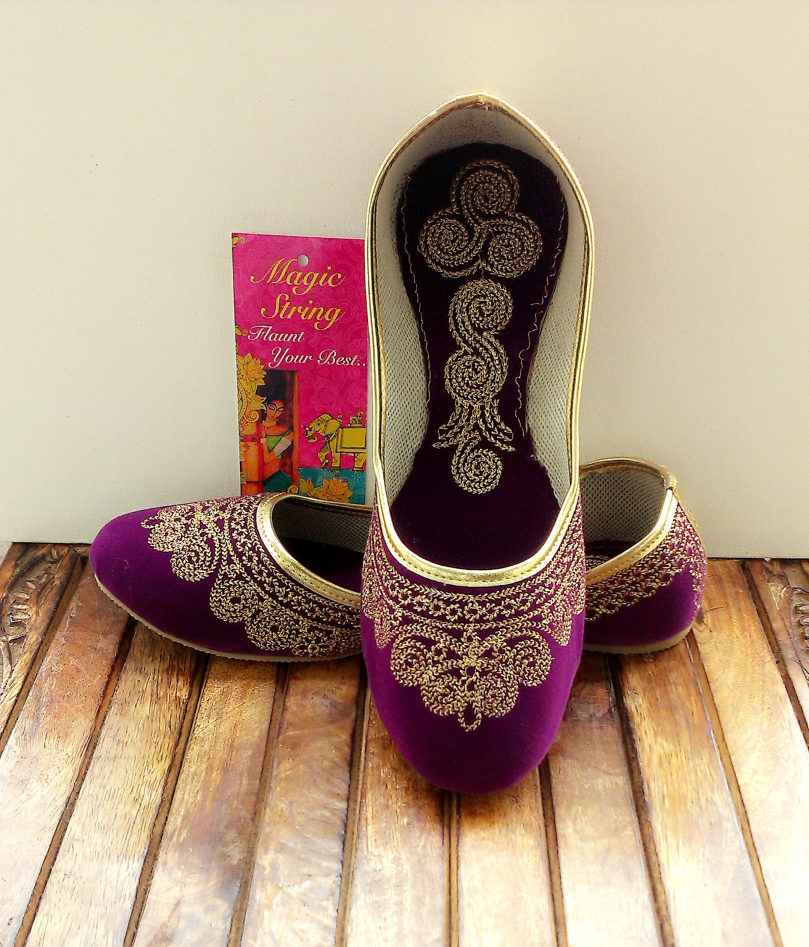 us size 7/purple shoes/velvet shoe/gold shoe/plum ballet flats/women shoes/handmade shoes//royal styled jooties