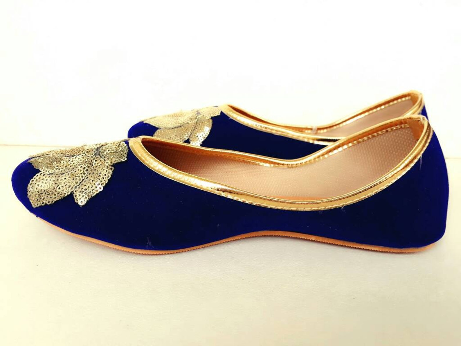 royal blue shoes/velvet shoes/gold embroidered shoes/navy blue women shoes/wedding shoes/ballet flats/wedding flats