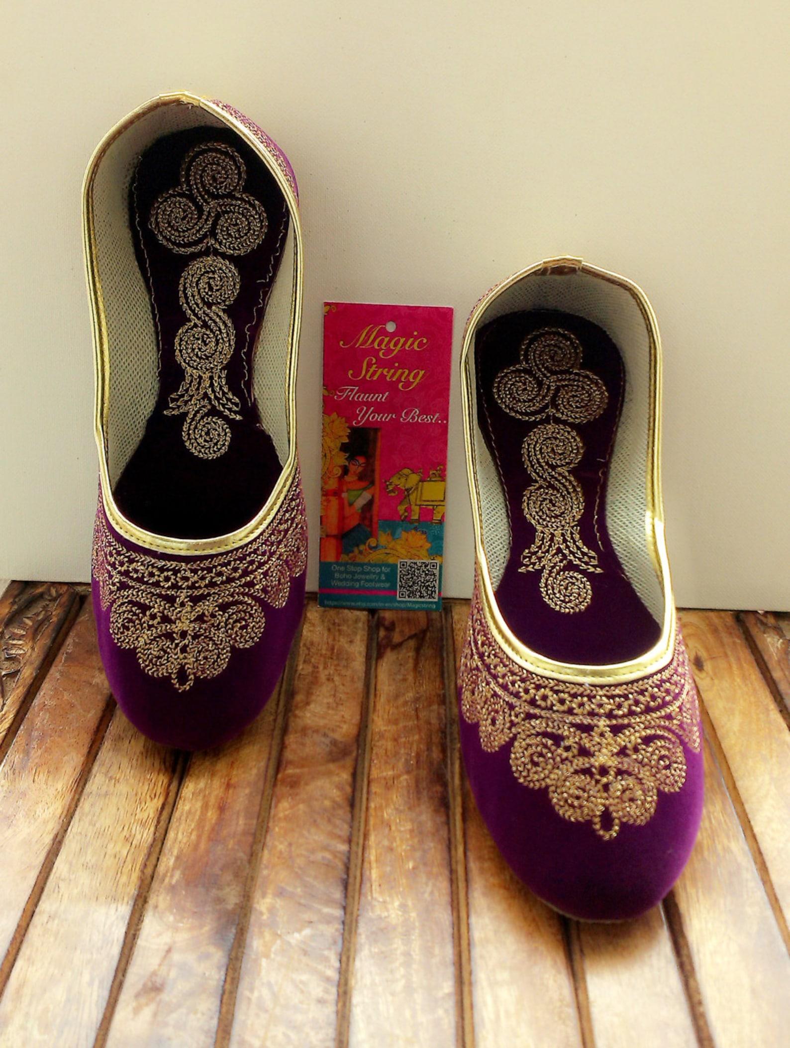 us size 7/purple shoes/velvet shoe/gold shoe/plum ballet flats/women shoes/handmade shoes//royal styled jooties