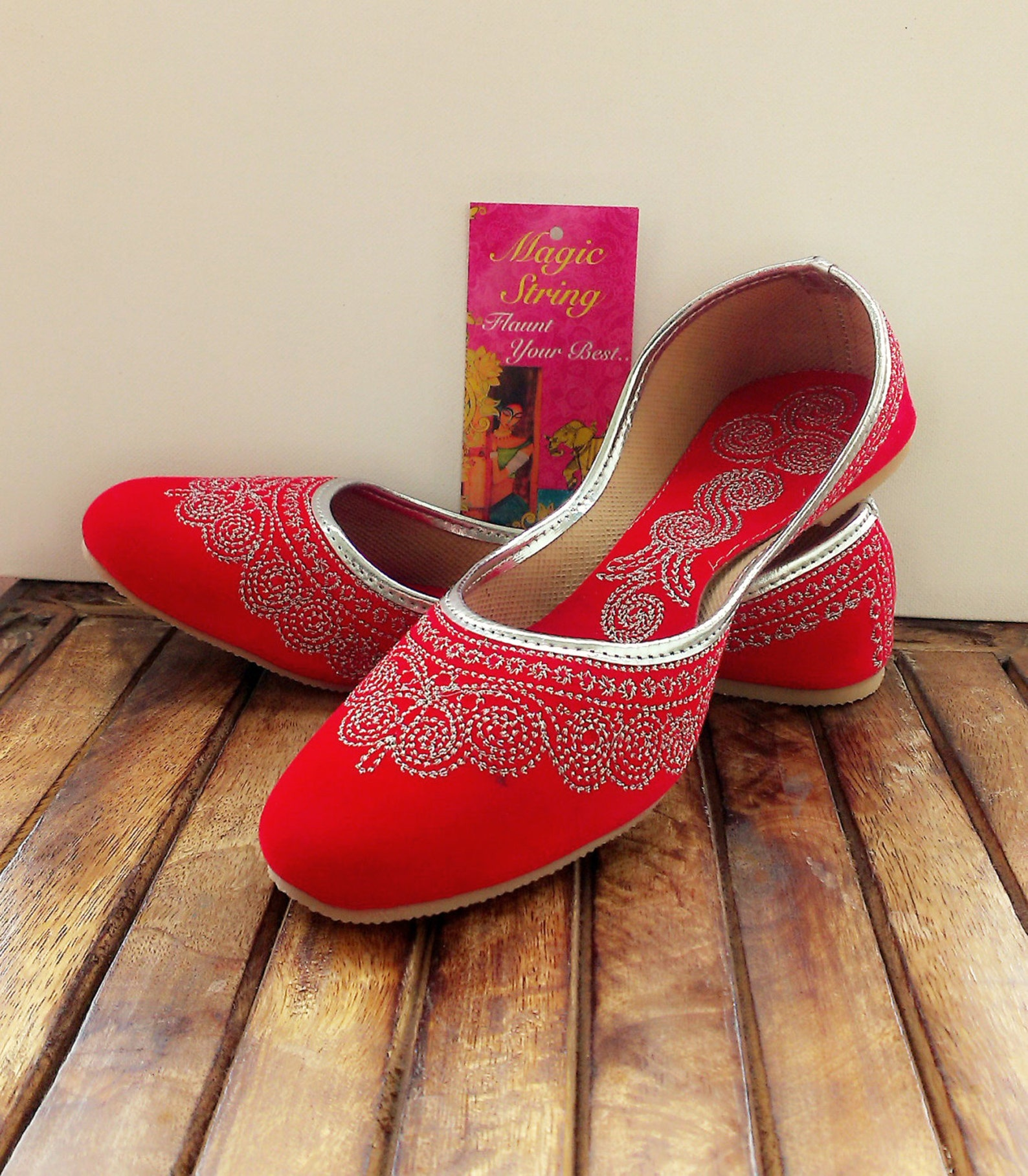 50% off size 10/red shoes/velvet shoes/silver embroidered shoes/cherry red ballet flats/women shoes/ handmade shoes