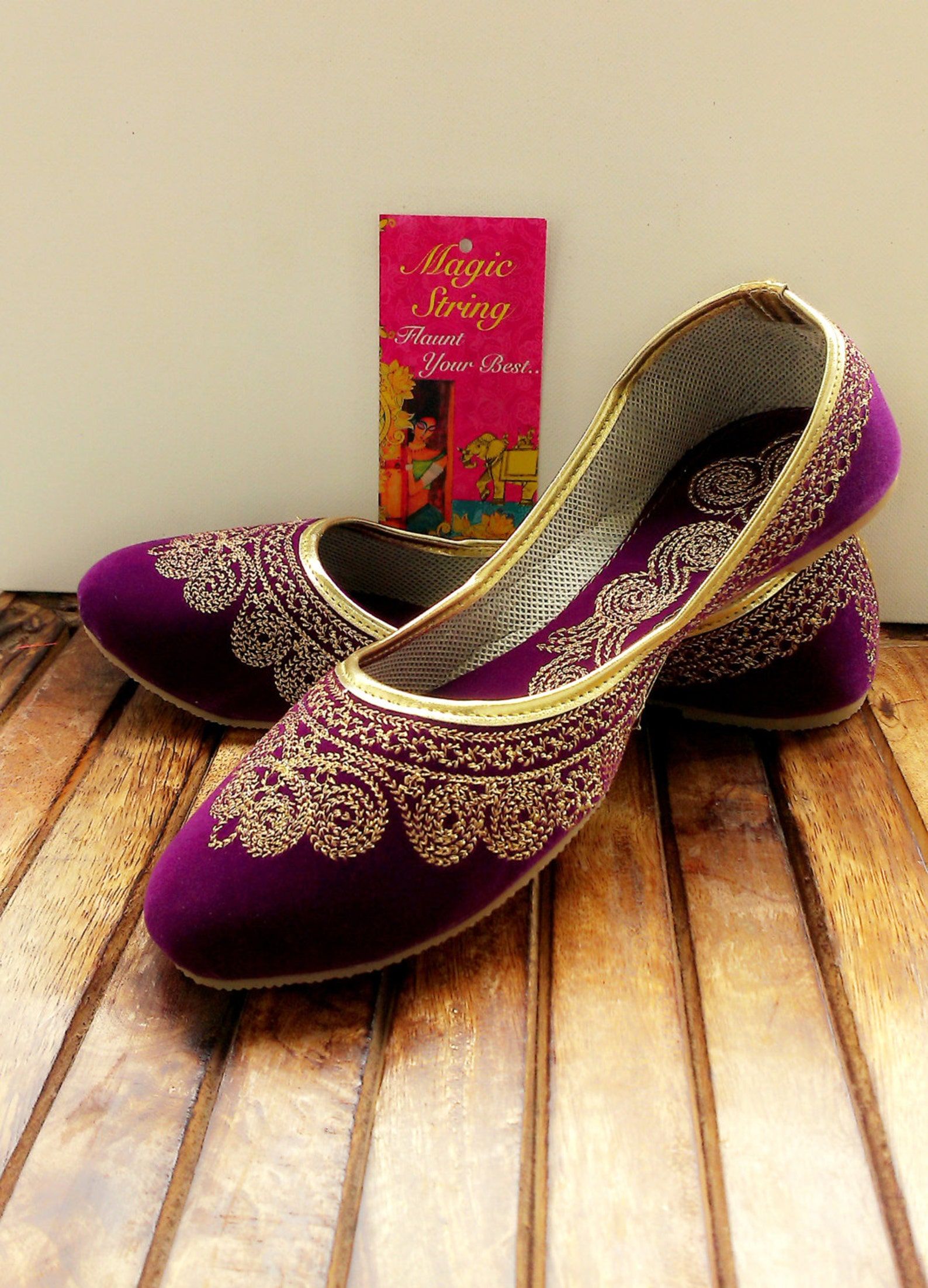 us size 6/purple shoes/velvet shoe/gold shoe/plum ballet flats/women shoes/handmade shoes//royal styled jooties