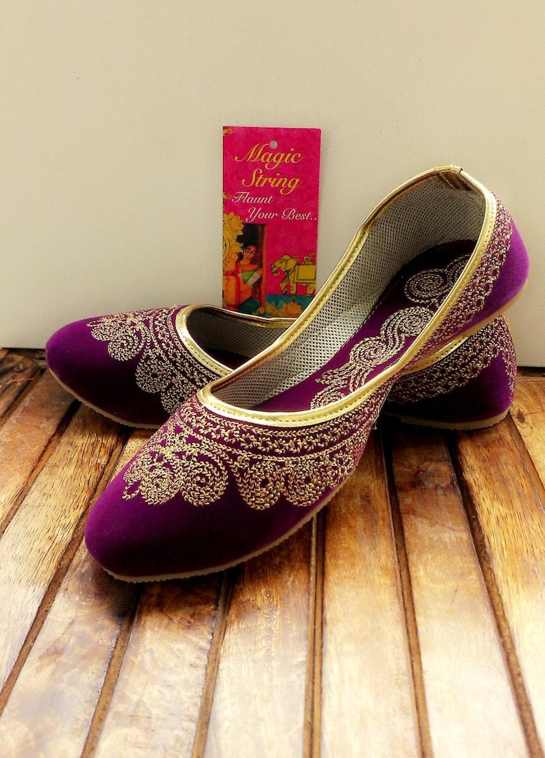 968a9efc795f US Size 6 Purple shoes Velvet Shoe Gold Shoe Plum Ballet Flats