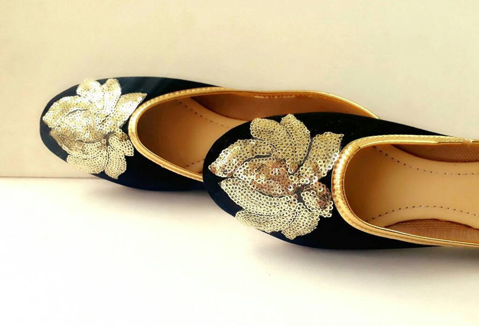 black shoes/velvet shoes/gold embroidered shoes/black ballet flats/women shoes/ shoes/ballet flats/wedding flats