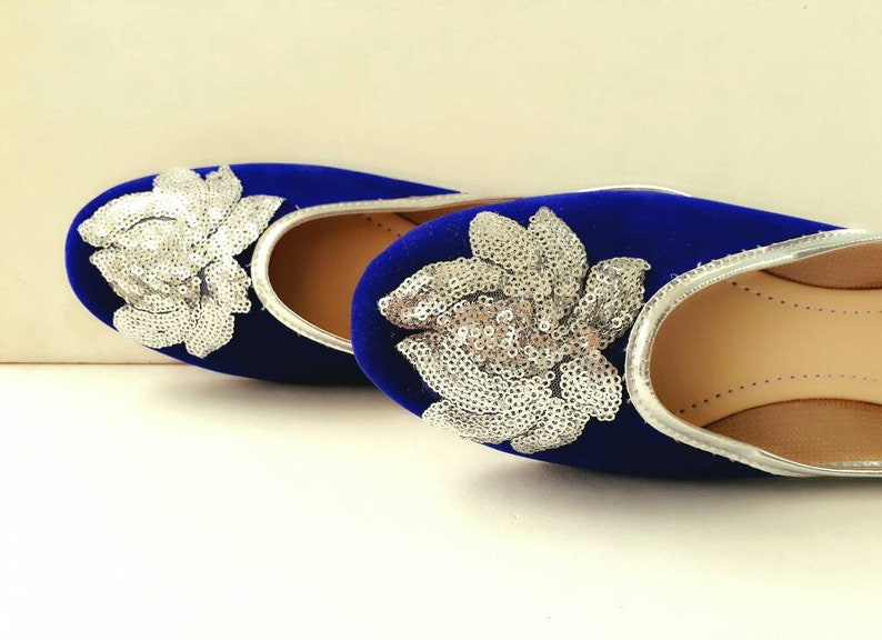 d471f393503d Royal Blue shoes Velvet Shoes Silver Embroidered Shoes Navy