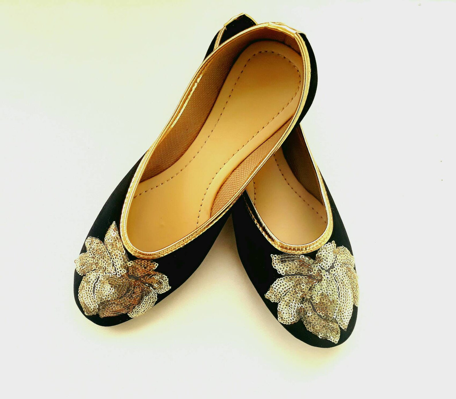black shoes/velvet shoes/gold embroidered shoes/black ballet flats/women shoes/ shoes/ballet flats/wedding flats
