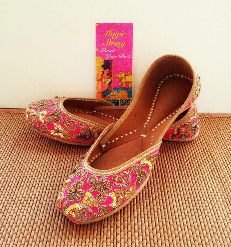 7ef361667488 Pink Flats US Size 7 Gold Flats Wedding Flats Fuchsia Bridal