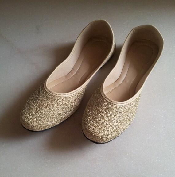 b556e5c0c922 Gold Flats Champagne Flats US Size 6 Nude Wedding Flat