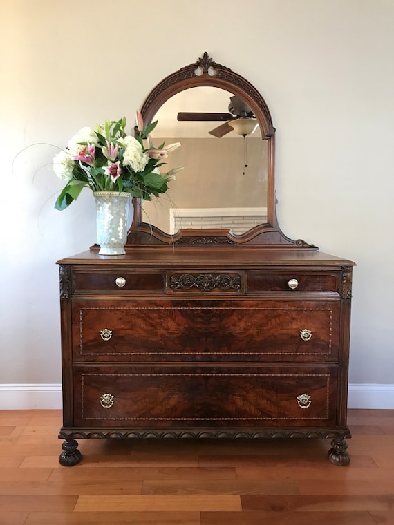 image 0 - AVAILABLE Antique Vanity Dresser With Mirror Etsy