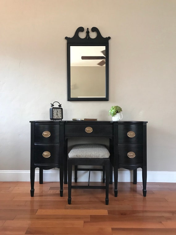 image 0 - AVAILABLE Black Antique Make-up Vanity With Mirror And Bench Etsy