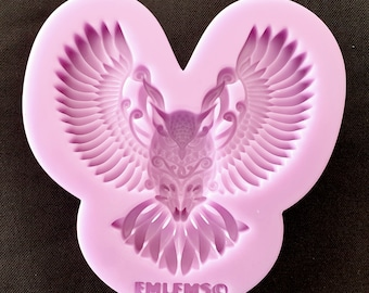 Emlems New Owl Silicone Mould food safe for cake toppers, resin, wax, fondant, chocolate, magical, myth, fantasy etc