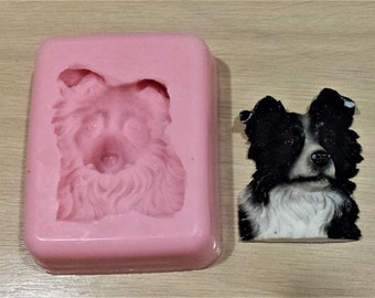 Border Collie Face Food Safe Silicone Mould for cake toppers, fondant, chocolate, resin, soap etc