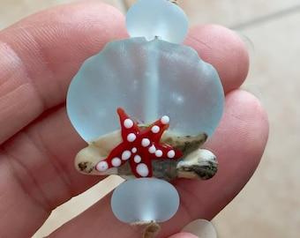 Sea shell  bead Handmade lampwork  glass bead, marine  lampwork bead set