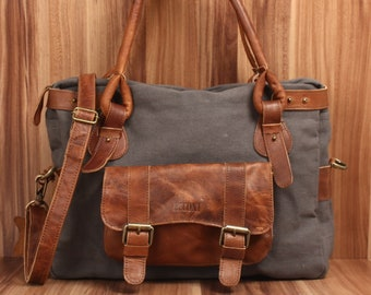 a92349a696bb5 LECONI Schultertasche Henkeltasche Damentasche Ledertasche Handtasche Leder  Canvas grau LE0050-C