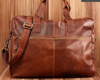 b961928666342 LECONI Weekender kleine Reisetasche Sporttasche vintage stil Leder braun  LE2018-wax