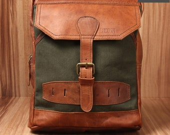 LECONI Leisure Backpack Crossbag backpack women men leather Canvas Green LE1012-C