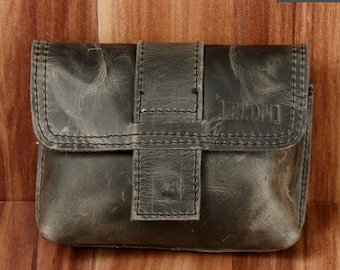 LECONI Belt bag waist pocket women men's cowhide grey LE9005-Wax